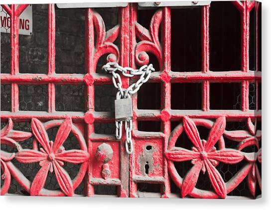Chain Link Fence Canvas Print - Locked Gate by Tom Gowanlock