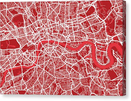 United Kingdom Canvas Print - London Map Art Red by Michael Tompsett