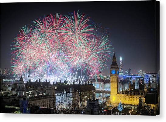 London New Year Fireworks Display Canvas Print