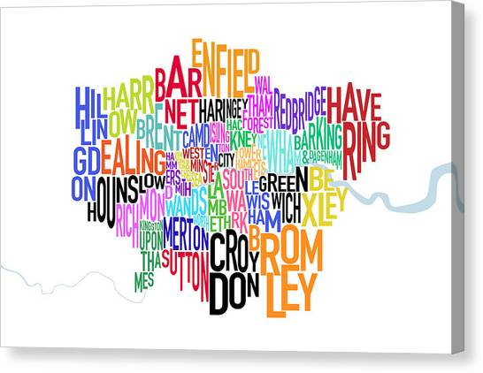United Kingdom Canvas Print - London Uk Text Map by Michael Tompsett