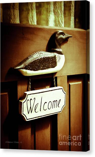 Loon Welcome Sign On Cottage Door Canvas Print by Gordon Wood