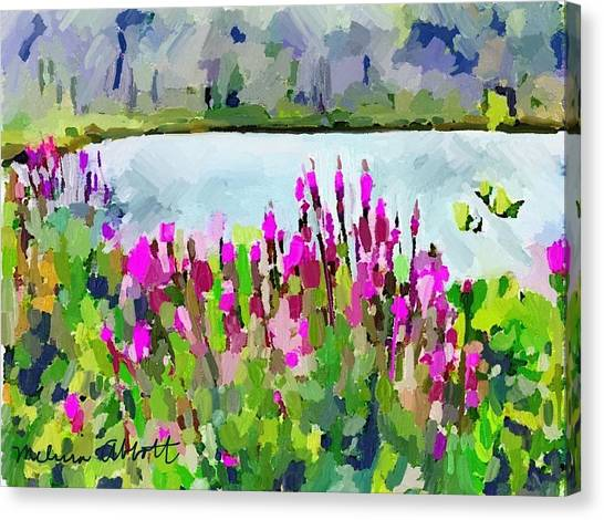 Loosestrife Blooming At Sleepy Hollow Pond Canvas Print