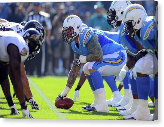 Football Players Canvas Print - Los Angeles Chargers by Maye Loeser