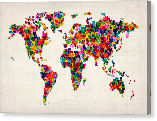 Map Canvas Print - Love Hearts Map Of The World Map by Michael Tompsett