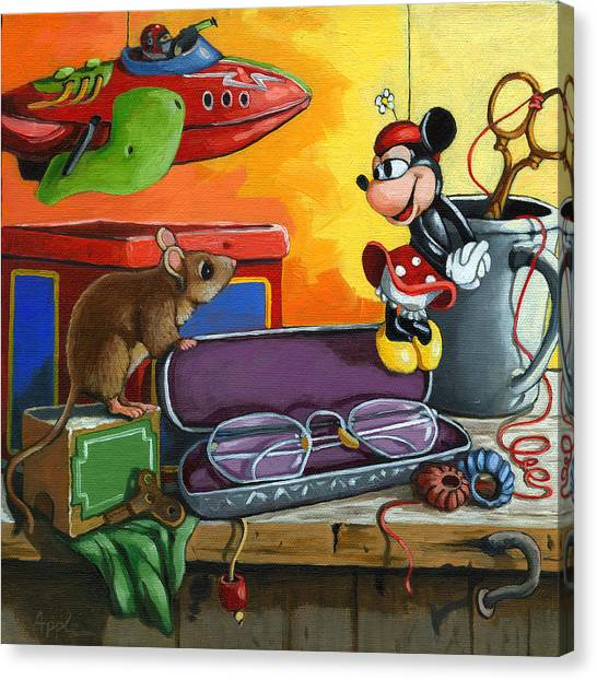 Love In The Attic -still Life Painting Canvas Print by Linda Apple