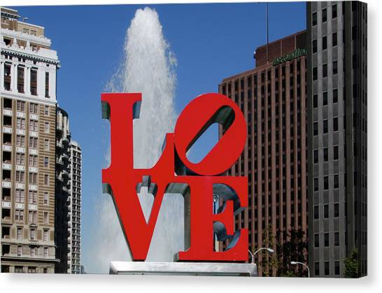 Canvas Print featuring the photograph Love - Philadelphia by Bill Cannon