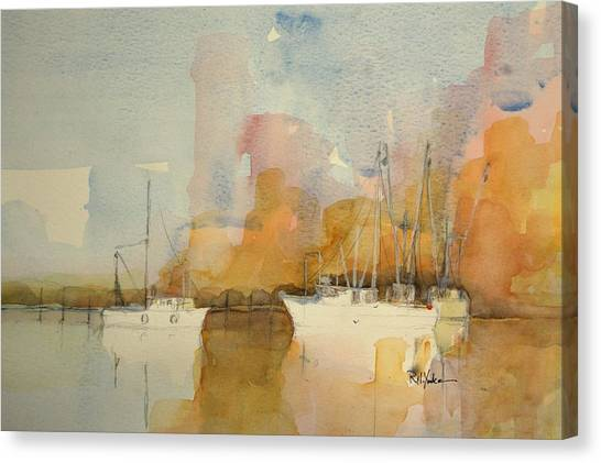 Shrimp Boats Canvas Print - Low Country Shrimpers by Robert Yonke