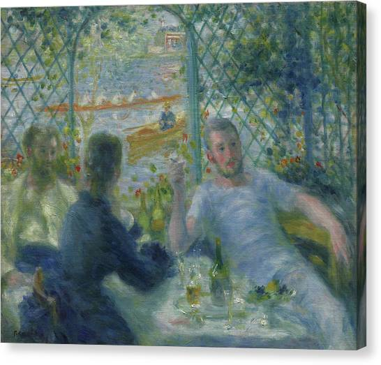 Dinner Table Canvas Print - Lunch At The Restaurant Fournaise  The Rowers Lunch by Pierre Auguste Renoir