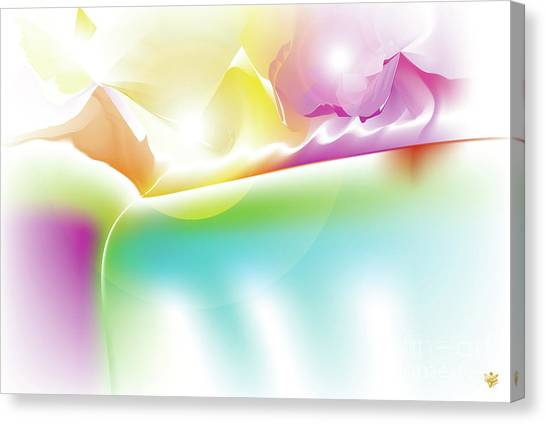 Canvas Print featuring the digital art Lux - Abstract Art Print - Fantasy - Digital Art - Rainbow Mountains - Fine Art Print - Landscape Pr by Ron Labryzz