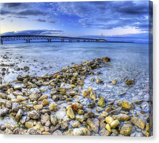Lake Michigan Canvas Print - Mackinac Bridge From The Beach by Twenty Two North Photography