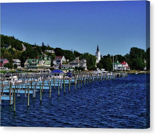 Mackinac By The Docks Canvas Print