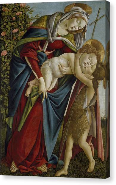 Botticelli Canvas Print - Madonna And Child And The Young St John The Baptist by Sandro Botticelli