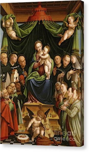 Tambourines Canvas Print - Madonna And Child Enthroned With Saints And Donors by Bernardino Lanino