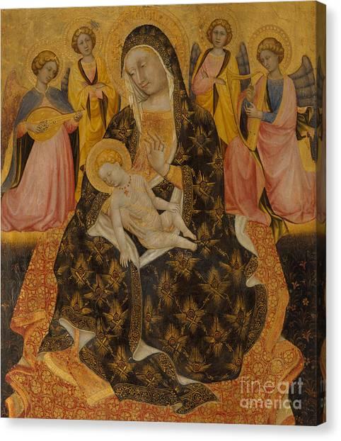 Lute Canvas Print - Madonna And Child With Angels by Pietro di Domenico da Montepulciano
