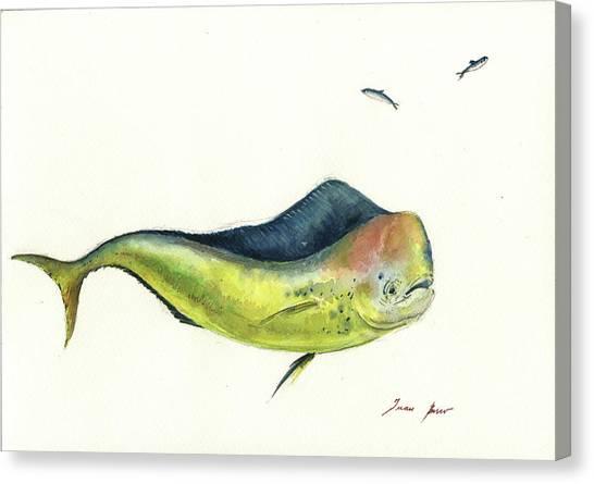 Dolphins Canvas Print - Mahi Mahi Fish by Juan Bosco