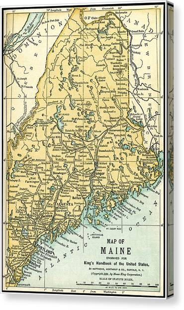 Maine Antique Map 1891 Canvas Print