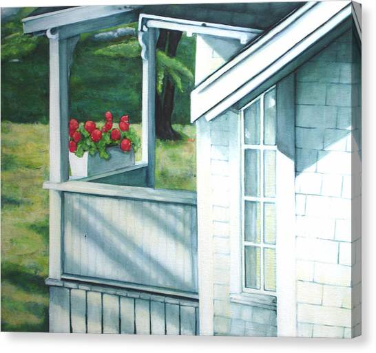 Maine Porches Number One Canvas Print by Leo Malboeuf