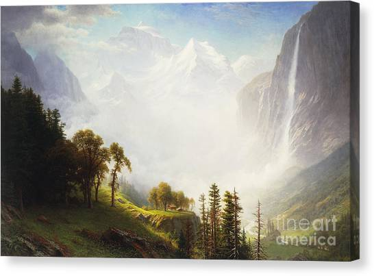 Foggy Forests Canvas Print - Majesty Of The Mountains by Albert Bierstadt