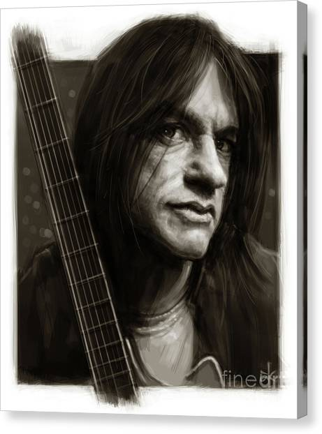 Ac Dc Canvas Print - Malcolm Young by Andre Koekemoer