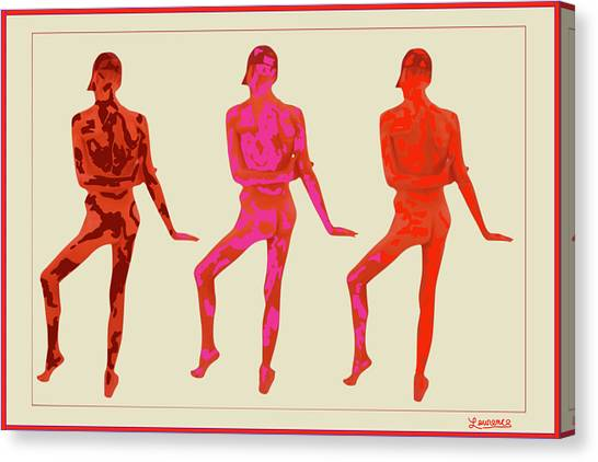 Male Nudes Canvas Print - Male Thrice Red by Laurence Wolfe
