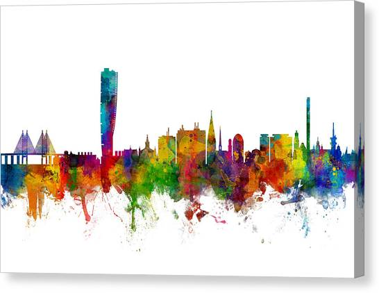 Swedish Canvas Print - Malmo Sweden Skyline by Michael Tompsett
