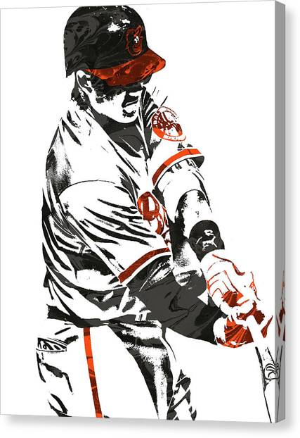Orioles Canvas Print - Manny Machado Baltimore Orioles Pixel Art by Joe Hamilton