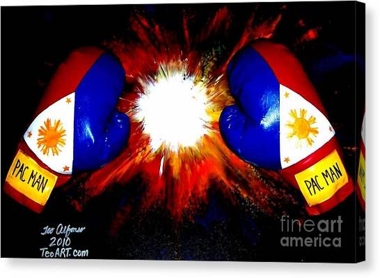 Manny Pacquiao Canvas Print - Manny Pacman Pacquiao Filipino Boxer by Teo Alfonso