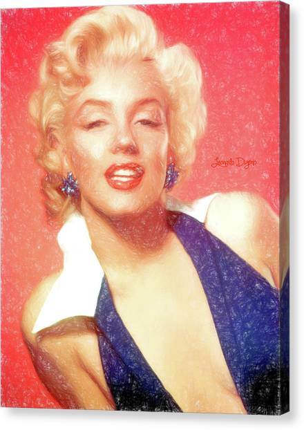 Hairstyle Canvas Print - Marilyn Monroe - Pencil Style by Leonardo Digenio
