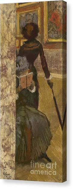 The Louvre Canvas Print - Mary Cassatt At The Louvre by Edgar Degas