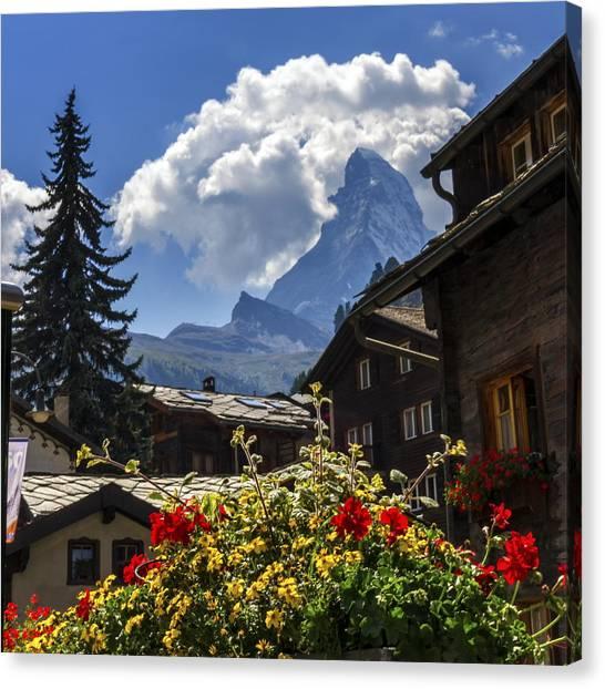 Matterhorn And Zermatt Village Houses, Switzerland Canvas Print