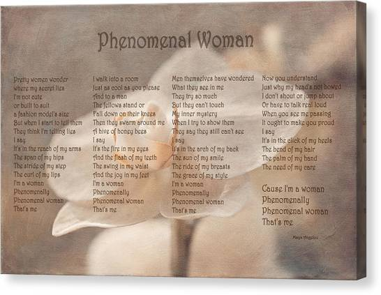Maya Angelou - Phenomenal Woman  Canvas Print