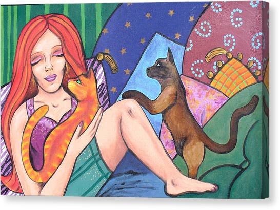 Me And My Cats Canvas Print by Sarah Crumpler