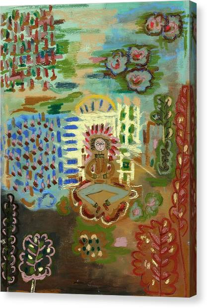 Meditating Master By Garden Trellis Canvas Print by Maggis Art
