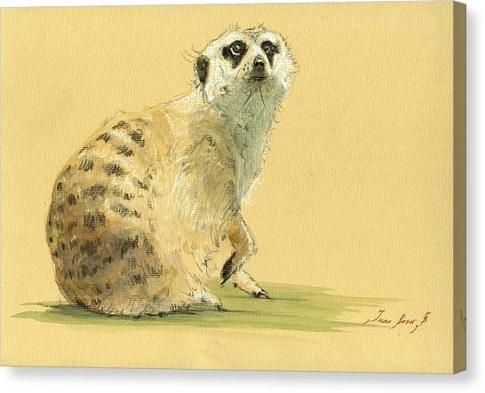 Meerkats Canvas Print - Meerkat Or Suricate Painting by Juan  Bosco