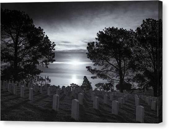 Fort Rosecrans National Cemetery Canvas Print - Memories At Fort Rosecrans by Joseph S Giacalone
