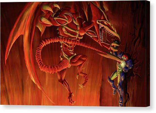 Metroid Canvas Print - Metroid by Lissa Barone