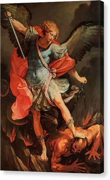 Michael Defeats Satan Canvas Print