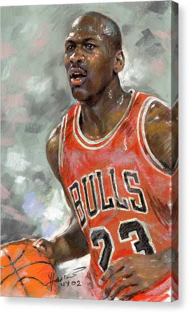 Chicago Bulls Canvas Print - Michael Jordan by Ylli Haruni