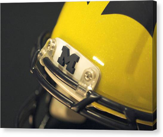 Canvas Print featuring the photograph Michigan M by Michigan Helmet