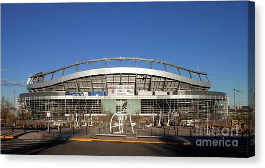 Boise State University Canvas Print - Mile High Stadium In Denver by Anthony Totah
