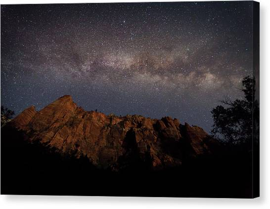 Milky Way Galaxy Over Zion Canyon Canvas Print