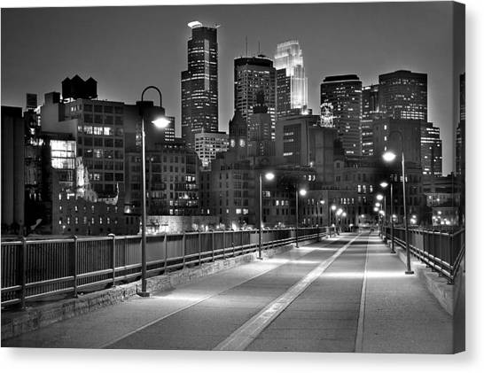 Bw Canvas Print - Minneapolis Skyline From Stone Arch Bridge by Jon Holiday