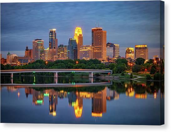 Minnesota Twins Canvas Print - Minneapolis Twilight by Rick Berk