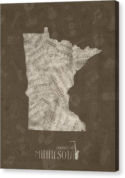 Minnesota Twins Canvas Print - Minnesota Map Music Notes 2 by Bekim Art