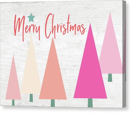 Winter Canvas Print - Modern Merry Christmas Trees- Art By Linda Woods by Linda Woods