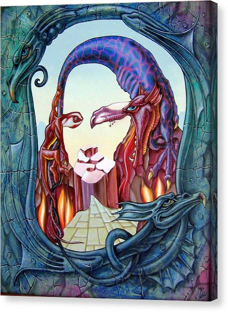 Mona Lisa. Fire Canvas Print