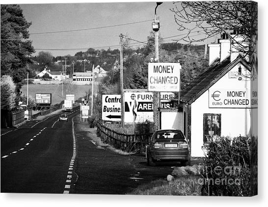 Brexit Canvas Print - Money Change Bureau De Change Near The Irish Border by Joe Fox