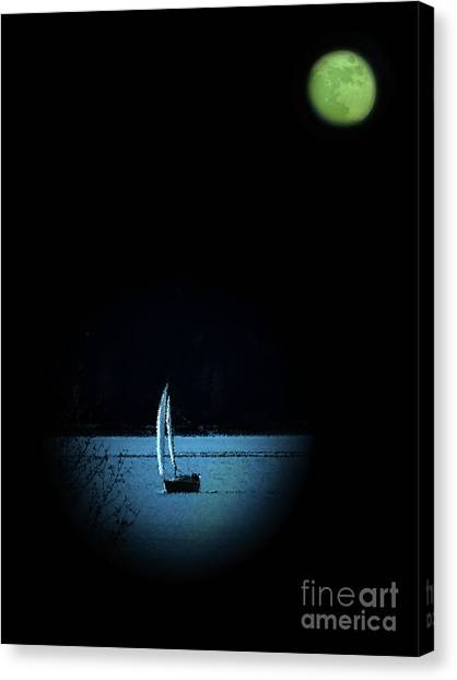 Midnite Canvas Print - Moonlight Sail by Al Bourassa