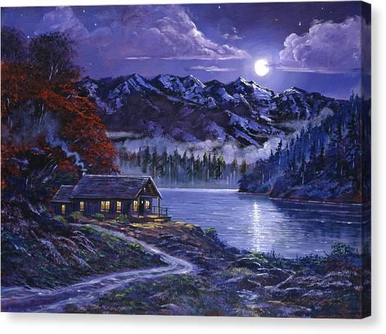 Log Cabin Canvas Print - Moonlit Cabin by David Lloyd Glover