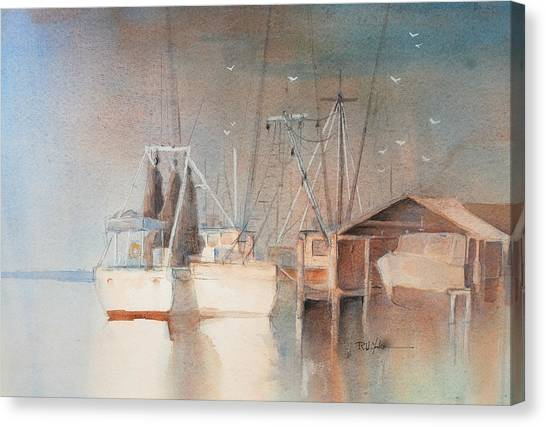 Shrimp Boats Canvas Print - Morning In St. Marys by Robert Yonke